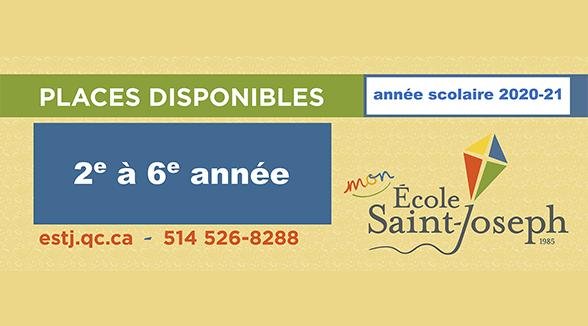 QUELQUES PLACES SONT TOUJOURS DISPONIBLES POUR L'ANNÉE SCOLAIRE 2020-21